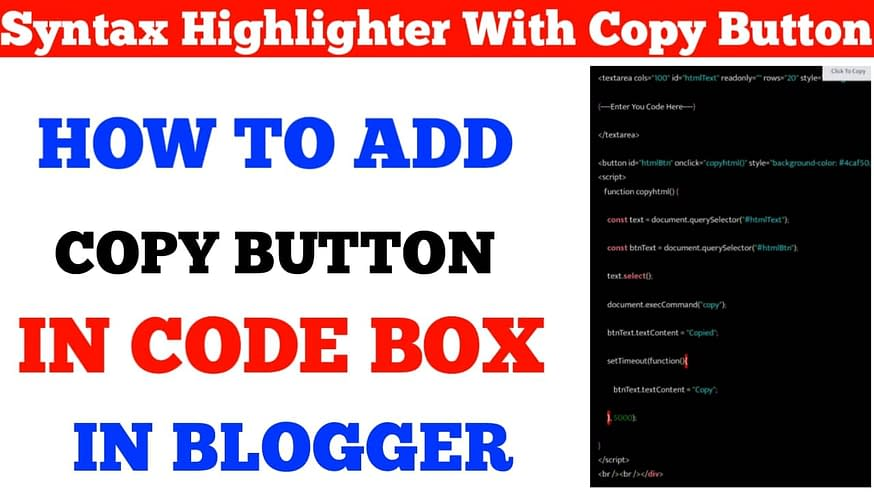 Syntax Highlighter with Copy Button Script for Blogger