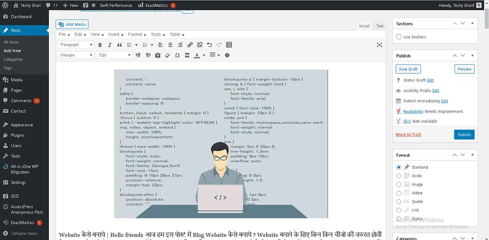 wordpress deshboard